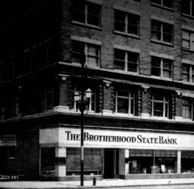 Old photo of The Brotherhood State Bank building